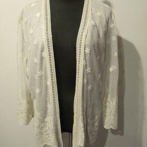Cream Lace Sweater Coverup